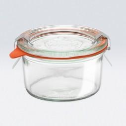 Tarro redondo de vidrio hermético bajo 0,165l.