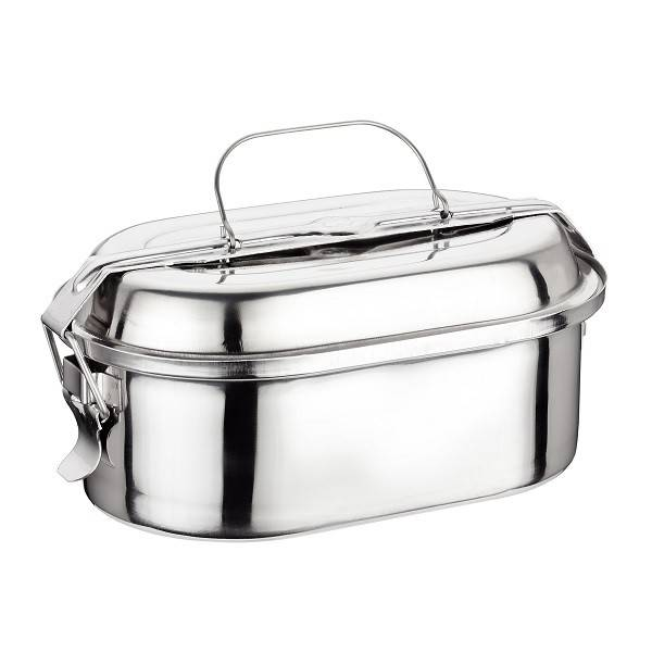 Stainless steel oval lunch box 16cm.