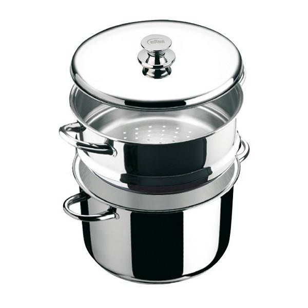 """Ecco Acero"" Stainless Steel Steamer Stock Pot with lid"