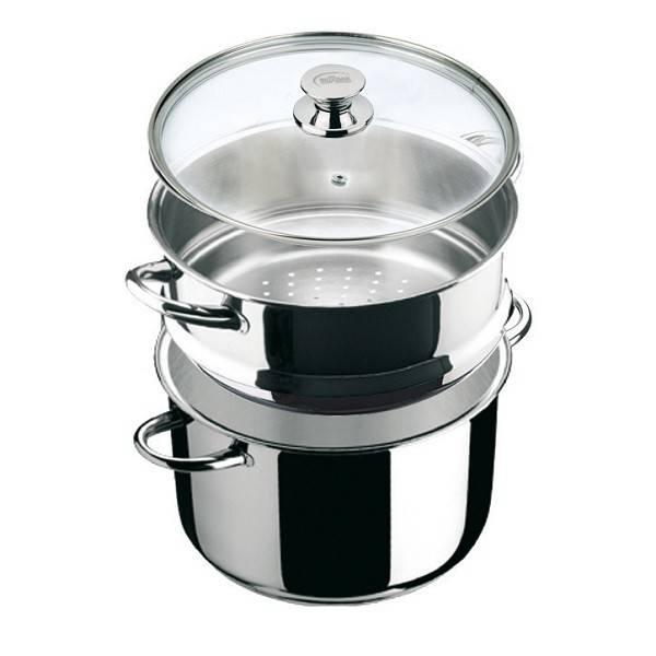 """Ecco Acero"" Stainless Steel Steamer Stock Pot with Glass lid. 20cm."