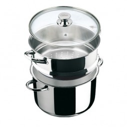 """Ecco Acero"" Stainless Steel Steamer Stock Pot with Glass lid"