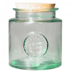 Pot en verre recyclé rond 1,5l.