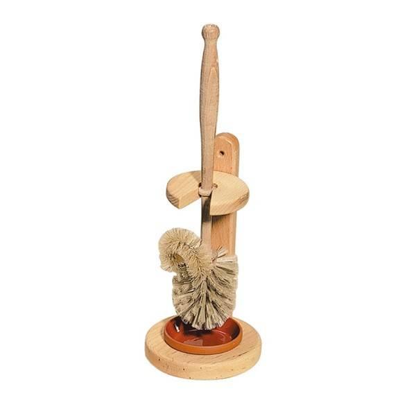 Escobilla de baño con cepillo para bordes y soporte de madera