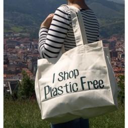 """Bolsa grande para la compra """"I shop Plastic-free"""""""
