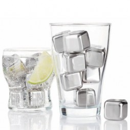 Set of 6 stainless steel ice cubes
