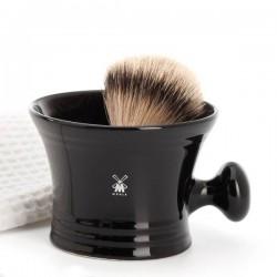 Bol de afeitado de porcelana negra con asa