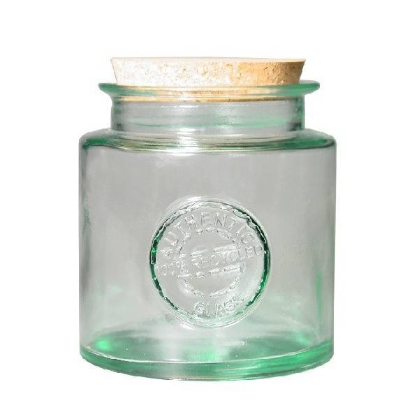 Recycled glass round canning jar 0,8l.