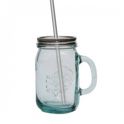 Mug en verre avec couvercle et paille