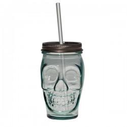 Bocal avec paille en verre recyclé Tête de mort