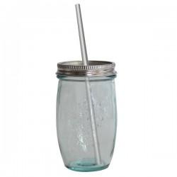 Vaso de vidrio reciclado con tapa y pajita de acero inoxidable 450ml.
