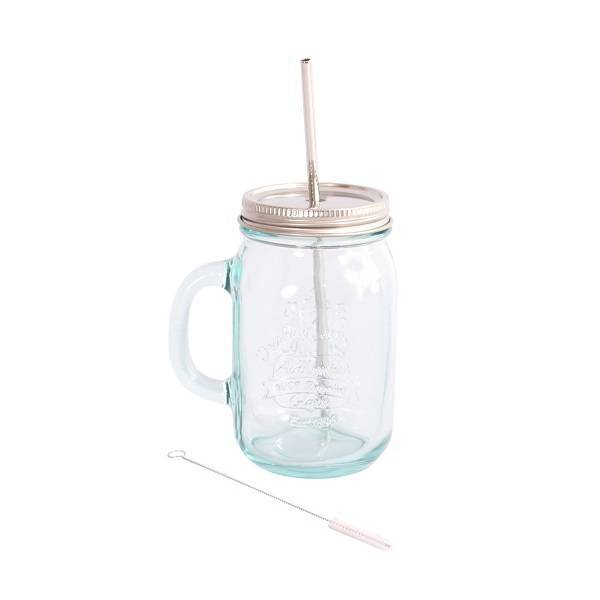 Eco Glass Mug with stainless steel Lid and Straw 550ml.
