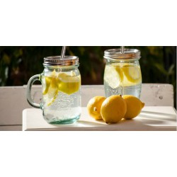 Eco Drinking Glass with stainless steel Lid and Straw 450ml.