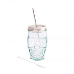 Skull-shaped Glass with stainless steel Lid and Straw 450ml.