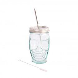 Vaso Calavera de vidrio reciclado con tapa y pajita de inox 450ml.