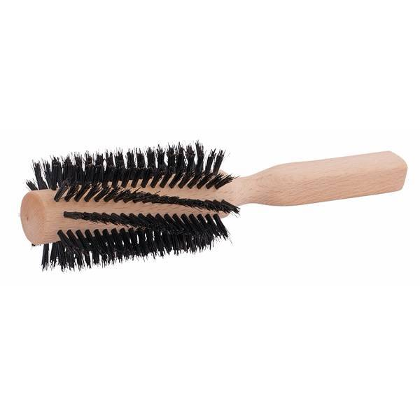 Large Round Beechwood Hairbrush with Natural Bristles