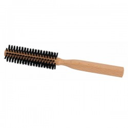 Small Round Beechwood Hairbrush with Natural Bristles