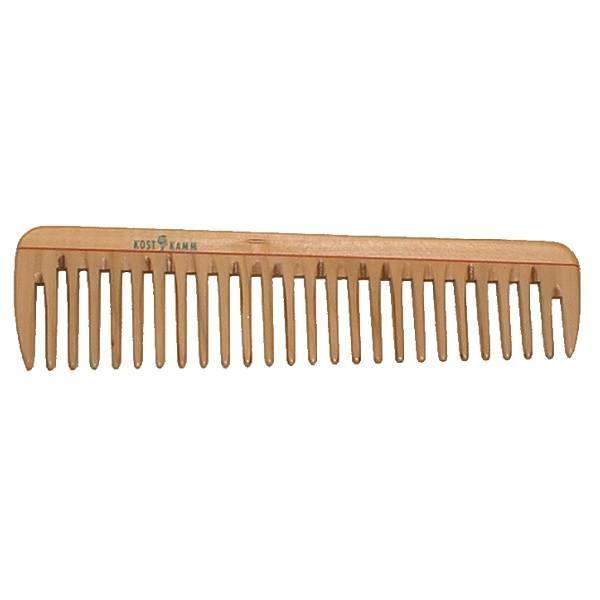 Peigne en bois aux dents épaisses 19cm.