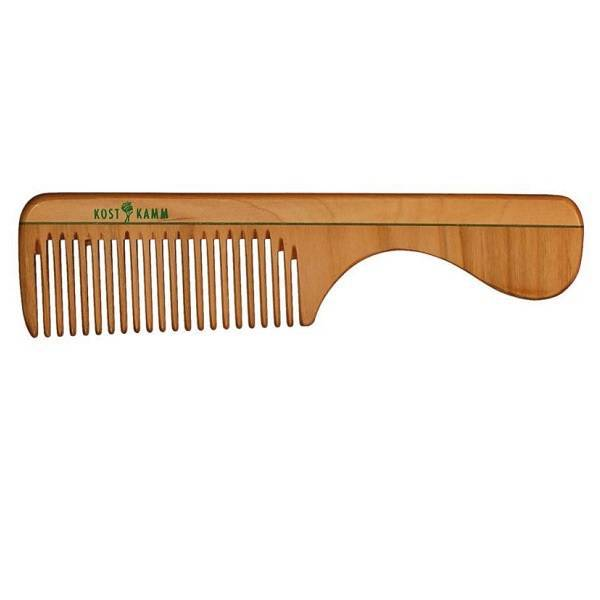 Peigne en bois avec manche 18cm.