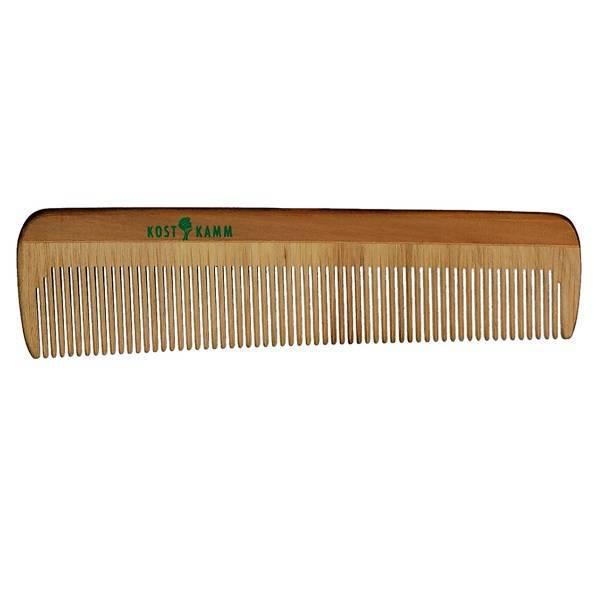 Peigne en bois aux dents resserrées 14cm.