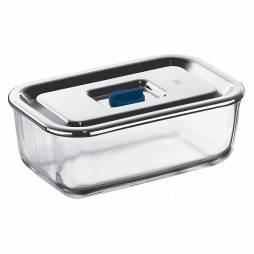 Tuper rectangular de vidrio con tapa de acero inox 1,2L.