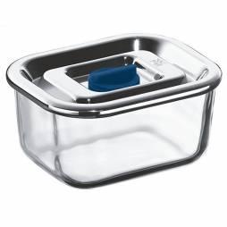 Tuper rectangular de vidrio con tapa de acero inox 0,4L.