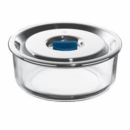 Tuper redondo de vidrio con tapa de acero inox 0,7L.