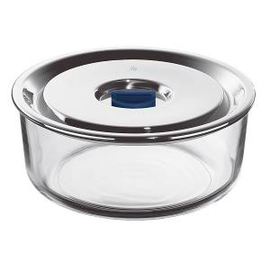 Round Airtight Glass & S.Steel Food Storage Container 1,25L. Top Serve