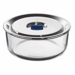 Tuper redondo de vidrio con tapa de acero inox 1,25L.