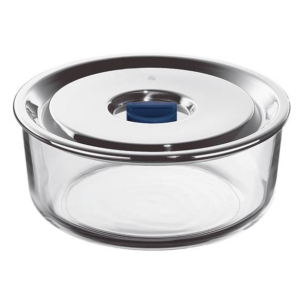 Round Airtight Glass U0026 S.Steel Food Storage Container 1,25L.