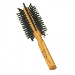 Round Olivewood Hairbrush with Natural Bristles