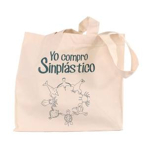 """Bolsa de algodón canvas con 4 asas """"Yo compro Sinplástico"""""""