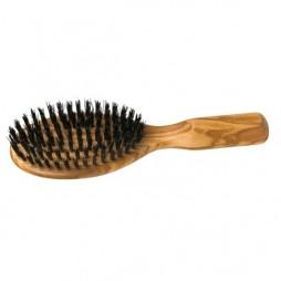Brosse à cheveux de poche en bois d'olivier