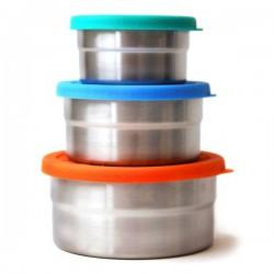 Trio boîtes repas rondes en metal et silicone