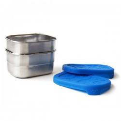 Boîte repas rectangulaire Splash Pod en metal et silicone