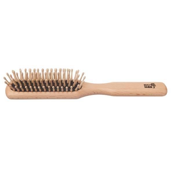 Brosse à cheveux plate de pointes rondes en bois