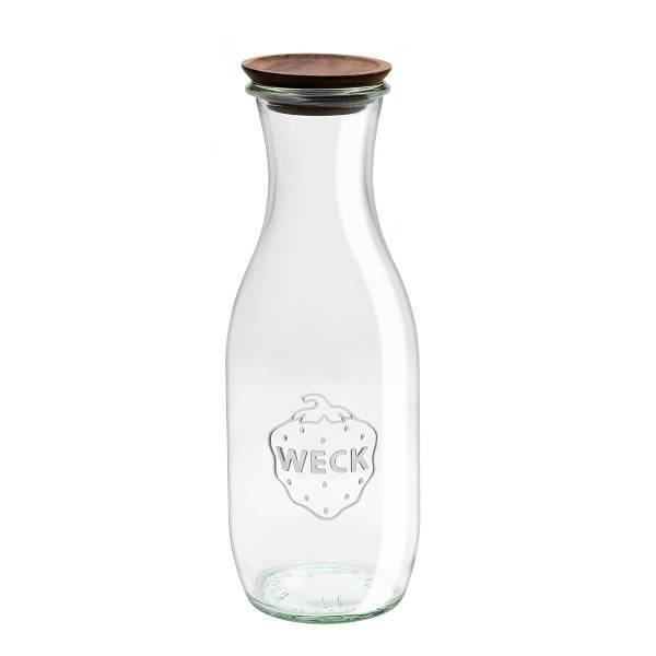 Botella de vidrio 1l. con tapón de madera
