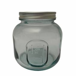 Tarro de vidrio reciclado con tapa metálica 1L.