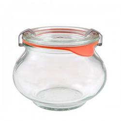 """Pot en verre rond hermétique """"DECO"""" 1L. couvercle en verre"""