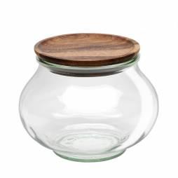 """Tarro Hermético de vidrio """"DECO"""" 1L. con tapa de madera"""