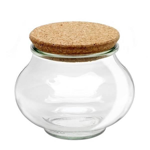 """Pot en verre rond hermétique """"DECO"""" 1,062L. avec bouchon en liège"""