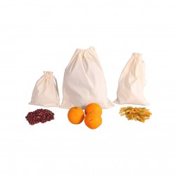 Set of reusable produce organic cotton bags