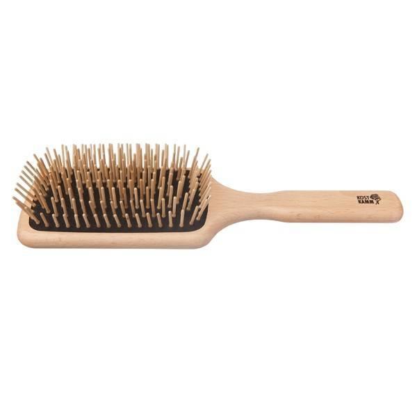 Cepillo rectangular para cabello con púas de madera