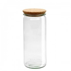 "Glass Airtight Canning  Jar ""Cylindrical"" 1L. with Cork Lid"