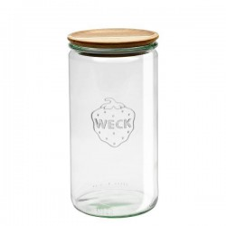 """Pot en verre rond hermétique """"Cylindrical"""" 1,5L. avec couvercle en bois"""