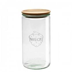 "Tarro Hermético de vidrio ""Cylindrical"" 1,5L. con tapa de madera"