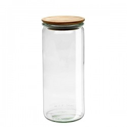 "Glass Airtight Canning  Jar ""Cylindrical"" 1L. with Wooden Lid"