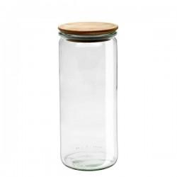 """Pot en verre rond hermétique """"Cylindrical"""" 1L. avec couvercle en bois"""