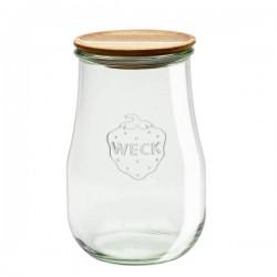 """Pot en verre rond hermétique """"TULIP"""" 1,75L. avec couvercle en bois"""
