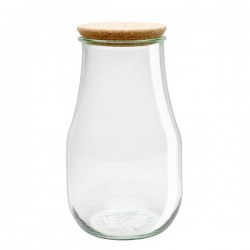 "Glass Airtight Canning  Jar ""TULIP"" 2,7L. with Cork Lid"