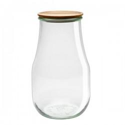 """Pot en verre rond hermétique """"TULIP"""" 2,7L. avec couvercle en bois"""